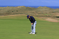 Marc Nolan (Dun Laoghaire) on the 16th green during Round 2 - Strokeplay of the North of Ireland Championship at Royal Portrush Golf Club, Portrush, Co. Antrim on Tuesday 10th July 2018.<br /> Picture:  Thos Caffrey / Golffile