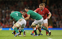Wales Ryan Elias is tackled by Ireland's Peter O'Mahony<br /> <br /> Photographer Ian Cook/CameraSport<br /> <br /> 2019 Under Armour Summer Series - Wales v Ireland - Saturday 31st August 2019 - Principality Stadium - Cardifff<br /> <br /> World Copyright © 2019 CameraSport. All rights reserved. 43 Linden Ave. Countesthorpe. Leicester. England. LE8 5PG - Tel: +44 (0) 116 277 4147 - admin@camerasport.com - www.camerasport.com