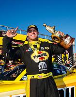 Oct 29, 2017; Las Vegas, NV, USA; NHRA funny car driver Matt Hagan celebrates after winning the Toyota National at The Strip at Las Vegas Motor Speedway. Mandatory Credit: Mark J. Rebilas-USA TODAY Sports