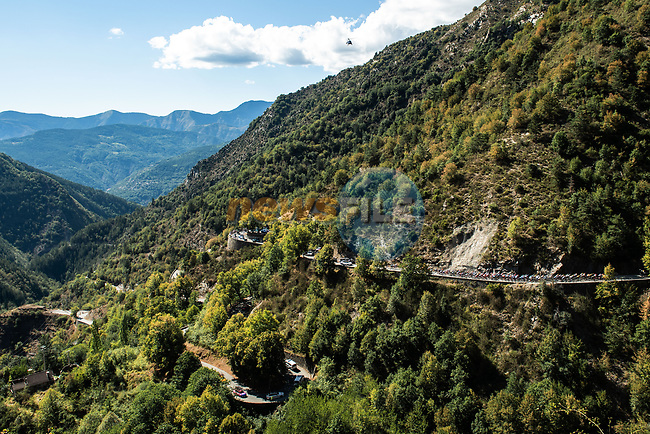 The peloton climb Col de Turini during Stage 2 of Tour de France 2020, running 186km from Nice Haut Pays to Nice, France. 30th August 2020.<br /> Picture: ASO/Alex Broadway | Cyclefile<br /> All photos usage must carry mandatory copyright credit (© Cyclefile | ASO/Alex Broadway)