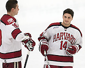 Alexander Kerfoot (Harvard - 14) joins Jimmy Vesey (Harvard - 19) on the blue line as a starter for the Crimson. - The Harvard University Crimson tied the visiting Dartmouth College Big Green 3-3 in both team's first game of the season on Saturday, November 1, 2014, at Bright-Landry Hockey Center in Cambridge, Massachusets.