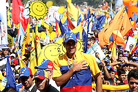 Venezuelan President candidate for the opposition Capriles Radonski closes his campaign in Bolivar avenue in Caracas. Radonski will face president Hugo Chavez who will to be re elected for a fourth term