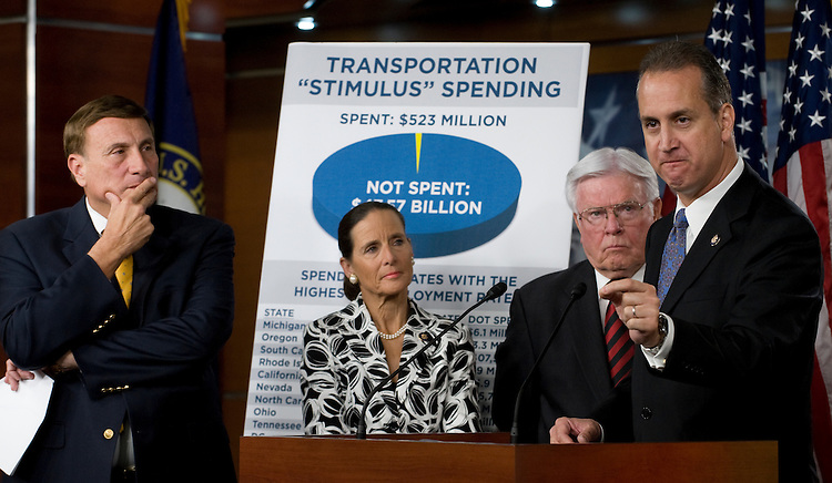 House Transportation and Infrastructure Committee ranking Republican Rep. John Mica, R-Fla., Jean Schmidt, R-Ohio, Henry Brown, R-S.C., and Mario Diaz-Balart, R-Fla., during a news conference on the failure of stimulus to create jobs and the need to speed up infrastructure projects.
