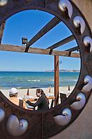 Europe/France/2B/Haute Corse/Balagne:Lumio:  Restaurant, Paillote: Le Pain de Sucre, plage de Sainte-Restitude