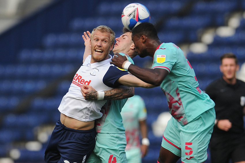 Preston North End's Jayden Stockley vies for possession with Swansea City's Joe Rodon and Marc Guehi<br /> <br /> Photographer Kevin Barnes/CameraSport<br /> <br /> The EFL Sky Bet Championship - Preston North End v Swansea City - Saturday September 12th 2020 - Deepdale - Preston<br /> <br /> World Copyright © 2020 CameraSport. All rights reserved. 43 Linden Ave. Countesthorpe. Leicester. England. LE8 5PG - Tel: +44 (0) 116 277 4147 - admin@camerasport.com - www.camerasport.com
