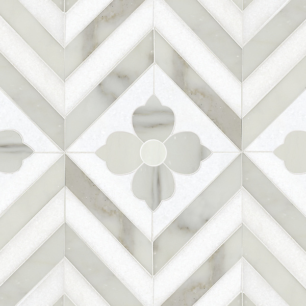 Maharaja 2, a hand-cut and waterjet stone mosaic, shown in Thassos and honed Calacatta Tia, is part of the Silk Road Collection by Sara Baldwin for New Ravenna Mosaics. <br />