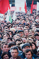 November 17, 1989. Sofia, Bulgaria. A pro-Communist rally promoting reforms within the system in front of the parliament. (Photo Heimo Aga)