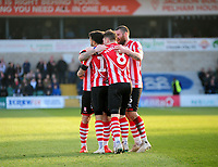 Lincoln City's Bruno Andrade celebrates scoring the opening goal with team-mates<br /> <br /> Photographer Andrew Vaughan/CameraSport<br /> <br /> The EFL Sky Bet League Two - Lincoln City v Stevenage - Saturday 16th February 2019 - Sincil Bank - Lincoln<br /> <br /> World Copyright © 2019 CameraSport. All rights reserved. 43 Linden Ave. Countesthorpe. Leicester. England. LE8 5PG - Tel: +44 (0) 116 277 4147 - admin@camerasport.com - www.camerasport.com