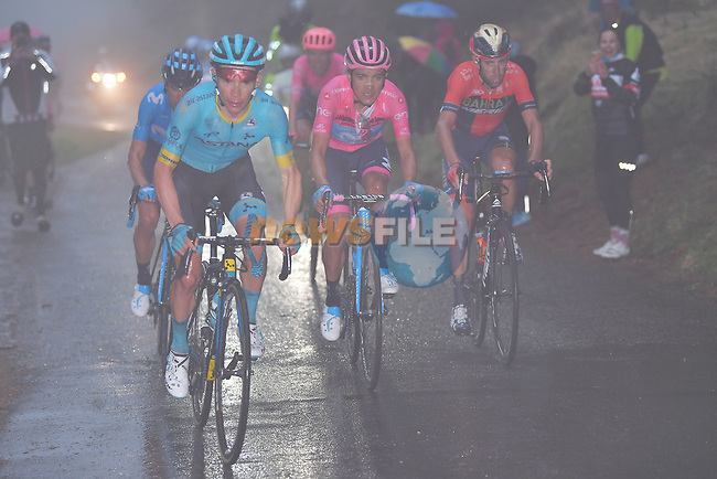 Miguel Angel Lopez Moreno (COL) Astana, Mikel Landa Means and Maglia Rosa Richard Carapaz (ECU) Movistar and Vincenzo Nibali (ITA) Bahrain-Merida on the Mortirolo climb during Stage 16 of the 2019 Giro d'Italia, running 194km from Lovere to Ponte di Legno, Italy. 28th May 2019<br /> Picture: Fabio Ferrari/LaPresse | Cyclefile<br /> <br /> All photos usage must carry mandatory copyright credit (© Cyclefile | Fabio Ferrari/LaPresse)