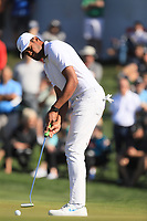 2nd February 2020, TPC Scottsdale, Arizona, USA;  Tony Finau putts on the second hole during the final round of the Waste Management Phoenix Open