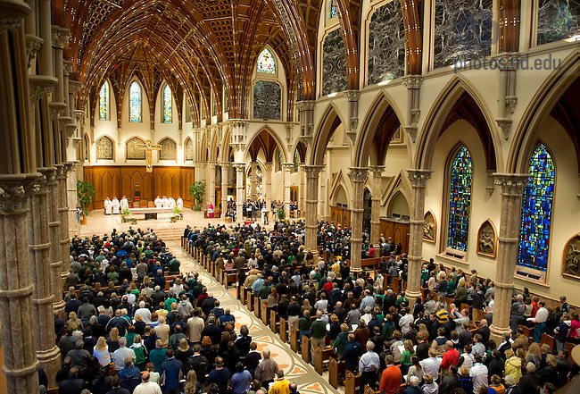 Oct. 6, 2012; Rev. John Jenkins, C.S.C. celebrates the Votive Mass of the Blessed Virgin Mary at Holy Name Cathedral in Chicago before the Shamrock Series game. Photo by Barbara Johnston/University of Notre Dame..