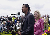 PAYNE STEWART HONOURED IN IRELAND 12-7-00<br /> <br /> &copy; Don MacMonagle, Killarney Ireland 353+87+2563610<br /> In a rare expression of emotion Tiger Woods says a few words of remembrance about his rival and colleague the late Payne Stewart  while Tracey Stewart listens carefully at a dedication service  Waterville Golf Club, Ireland on Wednesday. <br /> Picture by Don MacMonagle