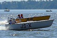 "JS-X ""Project X"" (Jersey Speed Skiff) and Gerri Prusko, JS-47 ""My Precious"" (50/60's Bender reproduction Jersey Speed Skiff)"