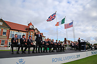 Sandy Scott (GB&I) is introduced during the opening ceremony at the Walker Cup, Royal Liverpool Golf CLub, Hoylake, Cheshire, England. 06/09/2019.<br /> Picture Fran Caffrey / Golffile.ie<br /> <br /> All photo usage must carry mandatory copyright credit (© Golffile | Fran Caffrey)