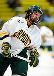 12 December 2009: University of Vermont Catamount forward Wahsontiio Stacey, a Junior from Kahnawake, Quebec, warms up prior to a game against the St. Lawrence University Saints at Gutterson Fieldhouse in Burlington, Vermont. The Catamounts shut out their former ECAC rival Saints 3-0. Mandatory Credit: Ed Wolfstein Photo