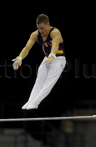 20.4.10 European Gymnastics Championships.Birmingham England.Junior Podium Training.Spain train on high bar..