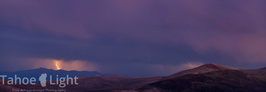 Landscape and lightning during storm in the White Mountains just outside of Bishop, CA