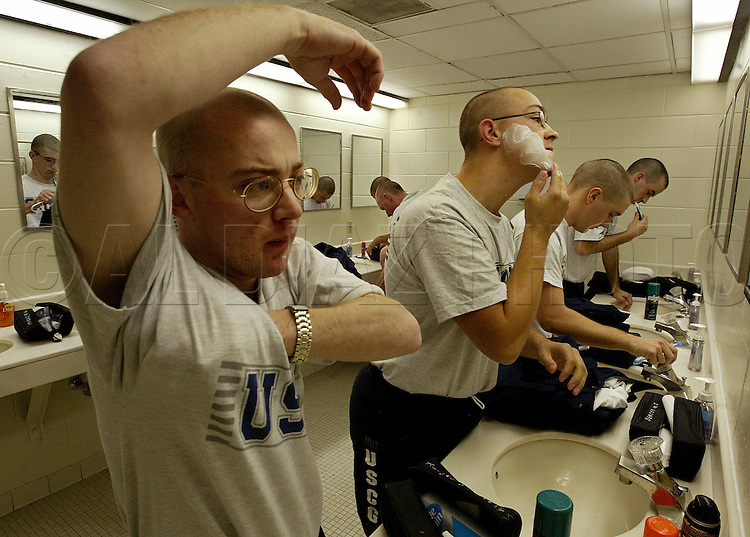 Rise and shine for seaman recruits as they prepare for morning drills during Boot Camp at The United States Coast Guard Training Center Cape May, NJ,