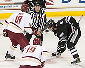 Colin White (BC - 18), Bob Bernard, Ryan Tait (PC - 8) - The Boston College Eagles defeated the visiting Providence College Friars 3-1 on Friday, October 28, 2016, at Kelley Rink in Conte Forum in Chestnut Hill, Massachusetts.The Boston College Eagles defeated the visiting Providence College Friars 3-1 on Friday, October 28, 2016, at Kelley Rink in Conte Forum in Chestnut Hill, Massachusetts.