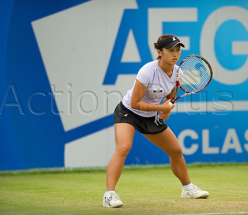16.06.2012 Birmingham, England.  Misaki DOI (JPN) in action during her quarterfinals match with Jelena JANKOVIC (SRB) [5] at the AEGON Classic at the Edgbaston Priory Club.