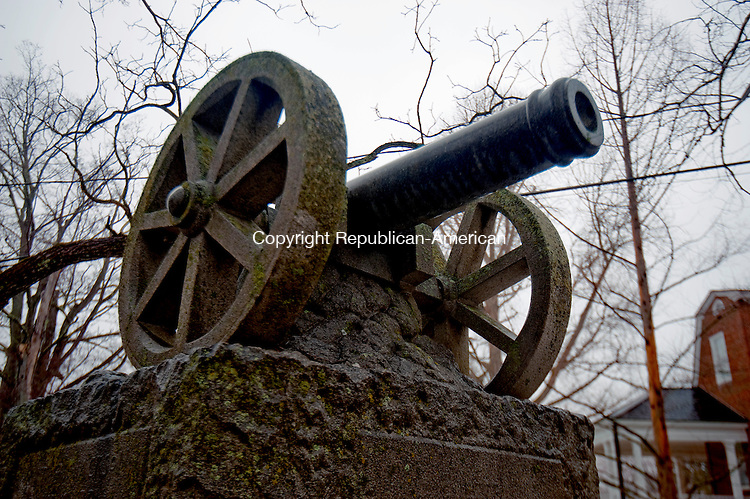 SHARON ,  CT,  CT-041115JS27- This canon Soldier's Monument, across from the Sharon Green, lists 28 names of men who served in the Civil War.<br /> Jim Shannon Republican-American