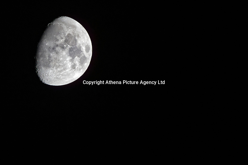 Black Moon seen from Swansea, south Wales, UK. Black Moons occur when there is no full moon in a calendar month which can only happen during the month of February with January before and March after both having Blue Moons. Sunday 25 February 2018