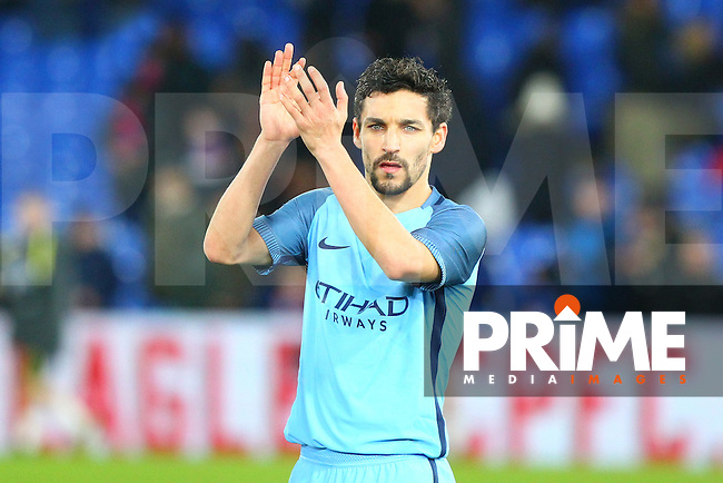 Manchester City's Jesus Navas during the FA Cup fourth round match between Crystal Palace and Manchester City at Selhurst Park, London, England on 28 January 2017. Photo by PRiME Media Images / Steve McCarthy.