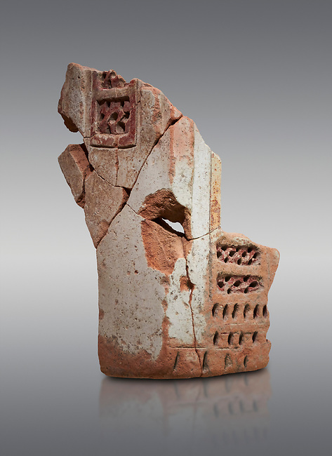 Hittite terra cotta fragmants of a defenive wall tower shaped vessel . Hittite Period, 1600 - 1200 BC.  Hattusa Boğazkale. Çorum Archaeological Museum, Corum, Turkey