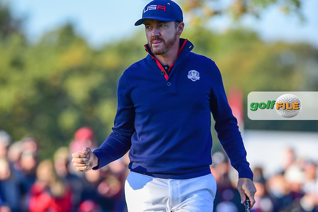 Jimmy Walker (USA) reacts after sinking putt on 4 during the Saturday morning foursomes at the Ryder Cup, Hazeltine National Golf Club, Chaska, Minnesota, USA.  10/1/2016<br /> Picture: Golffile | Ken Murray<br /> <br /> <br /> All photo usage must carry mandatory copyright credit (&copy; Golffile | Ken Murray)