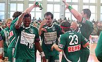 Handball - Relegationsspiel zum Aufstieg in die 2. Bundesliga - SC DHfK Leipzig spielt zu Hause in der Ernst-Grube-Halle gegen Dessau-Rosslauer HV..Im Bild: Jubel beim DHfK Team (Mannschaft) .Foto: Christian Nitsche.Jegliche kommerzielle Nutzung ist honorar- und mehrwertsteuerpflichtig! Persönlichkeitsrechte sind zu wahren. Es wird keine Haftung übernommen bei Verletzung von Rechten Dritter. Autoren-Nennung gem. §13 UrhGes. wird verlangt. Weitergabe an Dritte nur nach vorheriger Absprache.