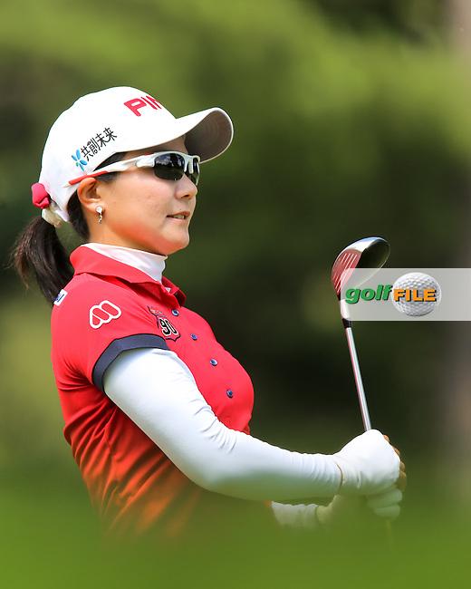 17 August 14 Japan's Ayako Uehara enjoying Sunday's Final Round of The Wegman's LPGA Championship at The Monroe Golf Club in Pittsford, New York. (photo credit : kenneth e. dennis/kendennisphoto.com)