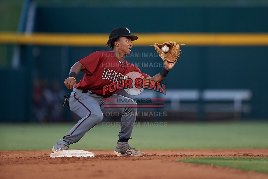 AZL Dbacks Glenallen Hill Jr. (6) covers second base on a stolen base attempt during an Arizona League game against the AZL Cubs 2 on June 25, 2019 at Sloan Park in Mesa, Arizona. AZL Cubs 2 defeated the AZL Dbacks 4-0. (Zachary Lucy/Four Seam Images)
