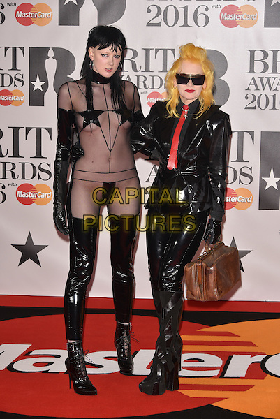 LONDON, ENGLAND - FEBRUARY 24: guest &amp; Pam Hogg attends the BRIT Awards 2016 at The O2 Arena on February 24, 2016 in London, England<br /> CAP/PL<br /> &copy;Phil Loftus/Capital Pictures