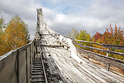 Looking up the abandoned Nansen Ski Jump in Milan New Hampshire USA. This jump was constructed in 1936 and in 1938 Olympic Trials were held here. The jump was closed in 1988.