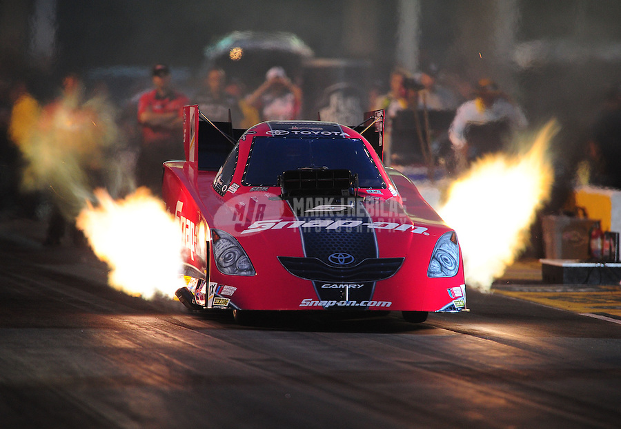 May 13, 2011; Commerce, GA, USA: NHRA funny car driver Cruz Pedregon during qualifying for the Southern Nationals at Atlanta Dragway. Mandatory Credit: Mark J. Rebilas-