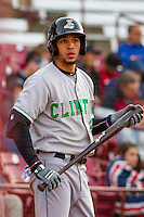 Clinton LumberKings outfielder Luis Liberato (2) waits on deck during a Midwest League game against the Wisconsin Timber Rattlers on May 9th, 2016 at Fox Cities Stadium in Appleton, Wisconsin.  Clinton defeated Wisconsin 6-3. (Brad Krause/Four Seam Images)