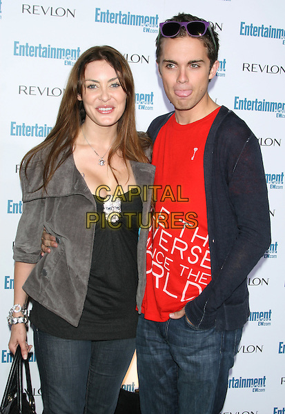 BOBBIE SUE LUTHER & THOMAS DEKKER .6th Annual Entertainment Weekly Pre-Emmy Awards Party.at the Beverly Hills Post Office, Beverly Hills, CA, USA, September 20th 2008..half length red t-shirt slogan .CAP/LNC/TOM.©LNC/Capital Pictures