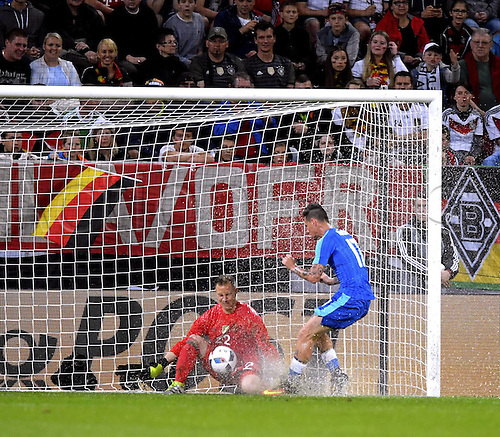 29.05.2016. Augsburg, Germany. International friendly match between Germany and Slovakia at WWK-Arena in Augsburg, Germany.  Keeper Marc-Andre ter Stegen (Deutschland) saves the ball at the feet of Marek Hamsik (Slo) in standing water