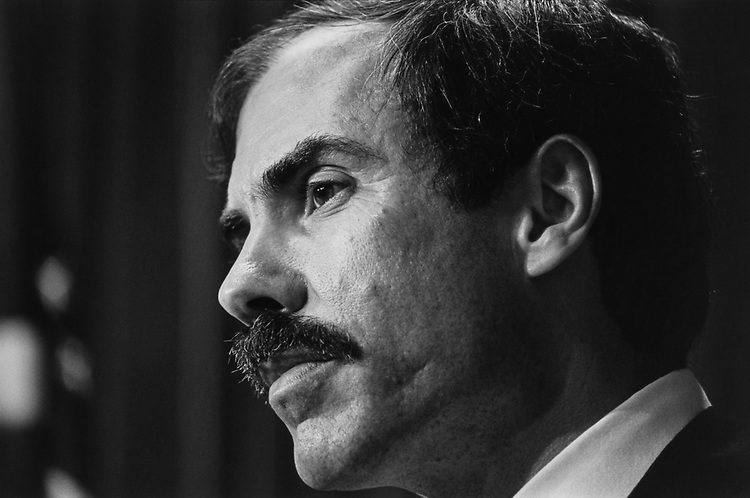 Close-up of Rep. Bob Wise, D-W.Va., on April 2, 1992. (Photo by Maureen Keating/CQ Roll Call)