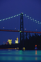 Lions Gate Bridge at dusk, Vancouver, British Columbia, Canada.