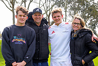 John Plumtree (2nd left) with his family (from left, Reece, Taine and wife Lara) after the rugby match between  New Zealand Schools Barbarians and NZ Maori Under-18 at the Sport and Rugby Institute in Palmerston North, New Zealand on Monday, 2 October 2017. Photo: Dave Lintott / lintottphoto.co.nz