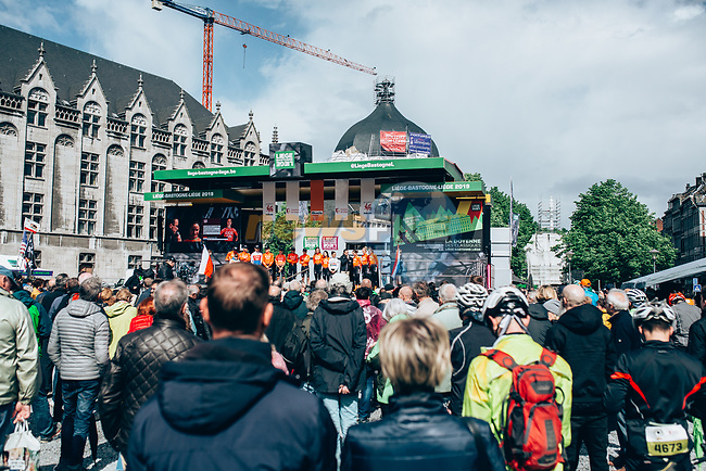CCC-Liv at team presentation before the 2019 Liège-Bastogne-Liège Femmes,  running 138.5km from Bastogne to Liege, Belgium. 27th April 2019<br /> Picture: ASO/Thomas Maheux | Cyclefile<br /> All photos usage must carry mandatory copyright credit (© Cyclefile | ASO/Thomas Maheux)