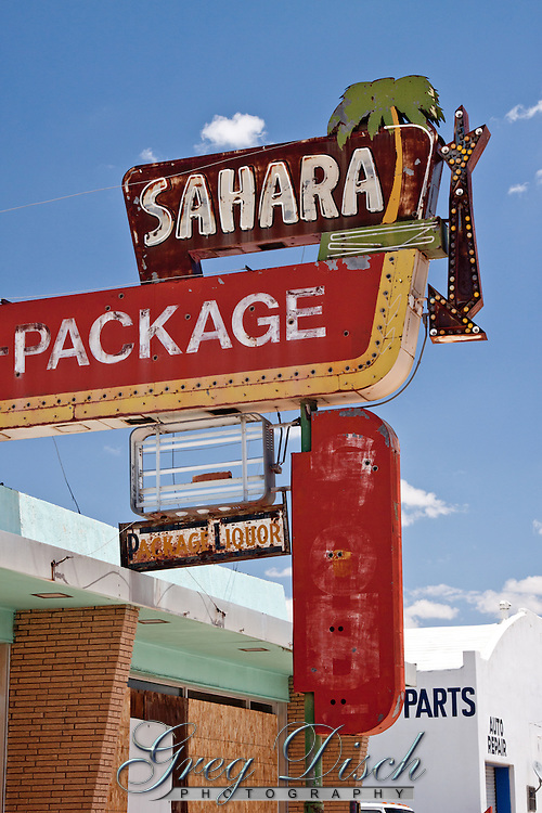 Sahara Lounge - package on Route 66 in Santa Rosa New Mexico, is one of the many business that did not survive.