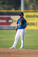 Missoula Osprey second baseman Eddie Hernandez (10) during a Pioneer League game against the Orem Owlz at Ogren Park Allegiance Field on August 19, 2018 in Missoula, Montana. The Missoula Osprey defeated the Orem Owlz by a score of 8-0. (Zachary Lucy/Four Seam Images)