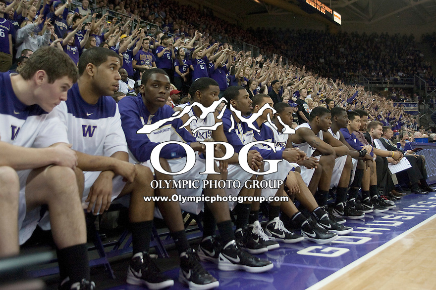 Feb 4, 2012:  Washington players watch from the bench against USC.  Washington defeated USC 69-41 at Alaska Airlines Arena Seattle, Washington...