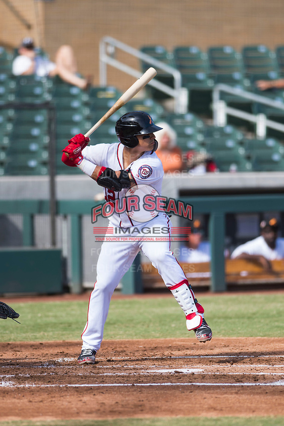 Salt River Rafters catcher Tres Barrera (12), of the Washington Nationals organization, at bat during an Arizona Fall League game against the Glendale Desert Dogs at Salt River Fields at Talking Stick on October 31, 2018 in Scottsdale, Arizona. Glendale defeated Salt River 12-6 in extra innings. (Zachary Lucy/Four Seam Images)