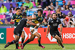 Stedman Gans of South Africa (C) in action against Jona Nareki of New Zealand (L) during the HSBC Hong Kong Sevens 2018 Bronze Medal Final match between South Africa and New Zealand on 08 April 2018 in Hong Kong, Hong Kong. Photo by Marcio Rodrigo Machado / Power Sport Images