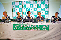 Austria, Kitzbuhel, Juli 14, 2015, Tennis, Davis Cup, Training Dutch team at the the press conference, ltr: Captain Jan Siemerink, Jean-Julien Rojer, Jesse Huta Galung, Thiemo de Bakker and Robin Haase<br /> Photo: Tennisimages/Henk Koster