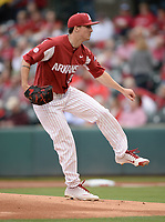 NWA Democrat-Gazette/ANDY SHUPE<br /> Arkansas starter Patrick Wicklander follows through with a pitch Friday, May 10, 2019, during the first inning against LSU at Baum-Walker Stadium in Fayetteville. Visit nwadg.com/photos to see more photographs from the game.