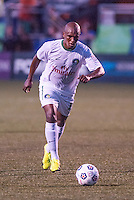 HEMPSTEAD, NY – SEPTEMBER 29: Marcos Senna of the New York Cosmos takes a free kick, scoring the game winner, against the Tampa Bay Rowdies on September 29, 2013 at  Shuart Stadium in Hempstead, New York.